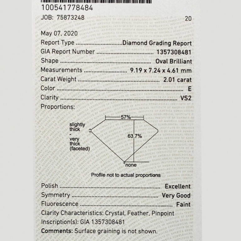 DIAMANT OVALE 2.01 Ct